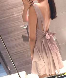 Backless Bow Back Tie Back Skater Chiffon Dress