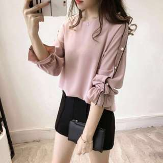 Korean Style Dusty Pink Pearl Sleeve Blouse