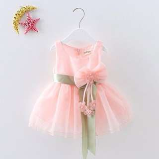 Baby Girl Sleeveless Lace Dress With Ribbon
