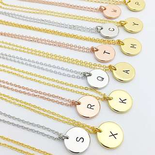 "NL012- Necklace Minimalist Custom Hand stamped Minimalist Jewelry with ""1 Alphabet"" Disc Charm - Shiny Gold, Shiny Rose Gold OR Shiny Rhodium Plated - Made To Order - Capital Letter Only"