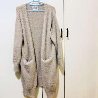 粉藕色水貂毛長版外套