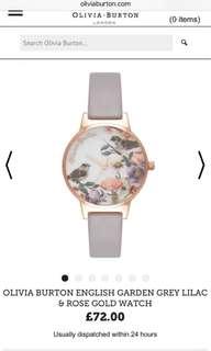 olivia burton english garden grey lilac and rose gold watch (original price: 778)