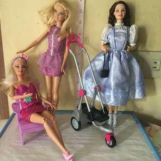 Dorothy of Oz plus 2 Barbie Dolls