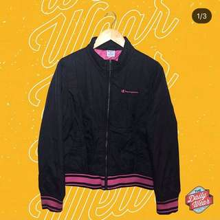 Champion Pink Script Bomber Jacket