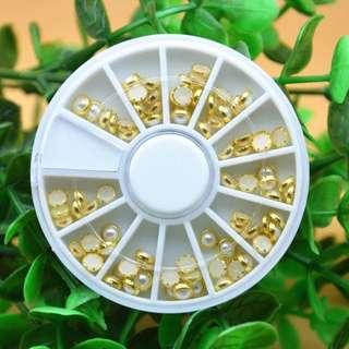 Nail Art Wheel 3D Tips Acrylic Pearl Rhinestone UV Gel Polish Glitter Metal Edge DIY Design Manicure Decoration Tool Accessories
