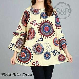 blouse aslan choco  Bahan Katun Bangkok, Fit to L, LD 106 PJ 70. Resleting depan