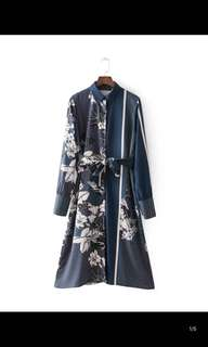 Europe and the United States new loose was thin long-sleeved lapel patchwork printing dress female