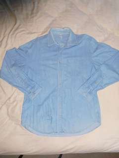 American Apparel Denim Button Up Shirt Size L