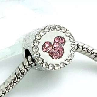 White Round Pink Mickey Charm
