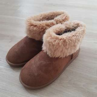Brown Winter Boots warm furry fur autumn snow shoes uzzlang ulzzang