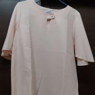 🚚 花袖上衣(粉色)