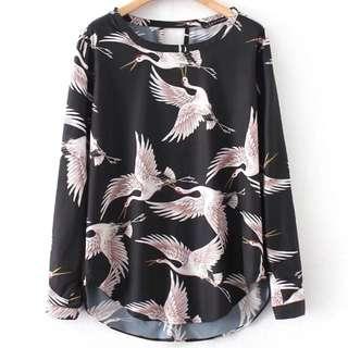 🔥New Loose Retro Crane Print Shirt Blouse