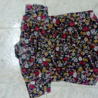 Floral ladies collared blouse