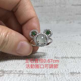 天然A玉925銀鑲米奇戒指