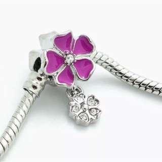 Purple Flower Dangle Charm