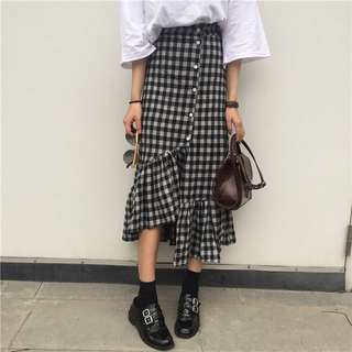 Checkered Plaid Buttons Down Ruffled Irregular Skirt