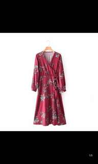 Europe and the United States new loose was thin long-sleeved V-neck floral wrap wrapped dress