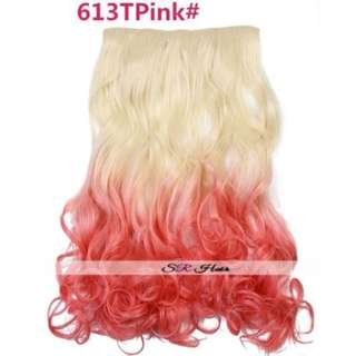 5 Clips Curly Ombre Blonde to Pink Hair Extensions