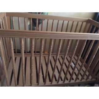 Quick Deal - Wooden Baby Cot for Sale + Free Bed