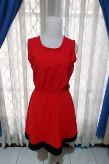 Simple Red Ruffle Dress