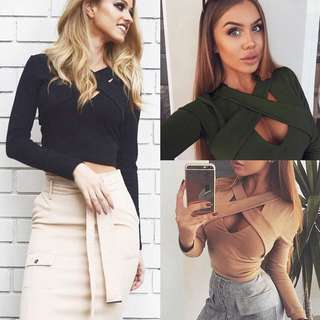 (PO) Solid Criss Cross V Neck Long Sleeve Crop Top 💗🌻