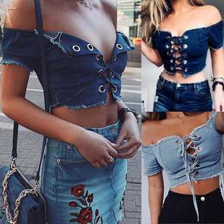 (PO) Denim Shoelace Crop Top 💗🌻