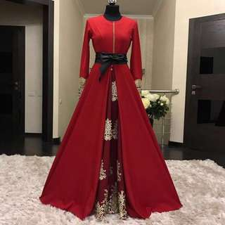 Eve' Maxi Dress with Embroidery Detail in Red