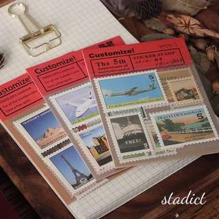 Vintage Flying Stamps Sticker