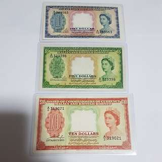Set of 1953 BCC  Malaya & British Borneo of $1, $5 & $10