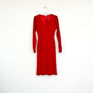 二手 紅色 騷絕 繞頸 薄紗 微透明 彈性 洋裝 明太子 0304