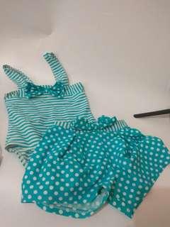 Baju Renang Bayi 3 pcs warna Tosca Polkadot