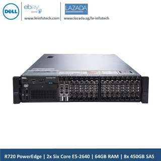 Dell PowerEdge R720 Vrtualization Server 12-Core E5-2640 32GB RAM 8x450GB H710