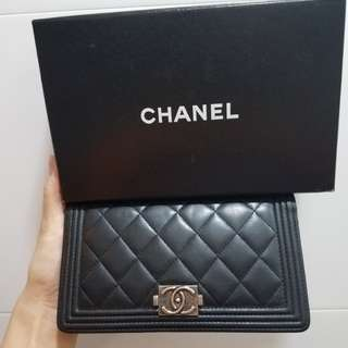 Chanel boy wallet 復古銀扣