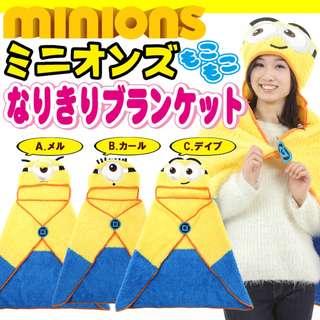 [全新日本空運]minions 壞蛋獎門人 小黃人 迷你兵團 禦寒披肩毛毯 披肩 全新未開封