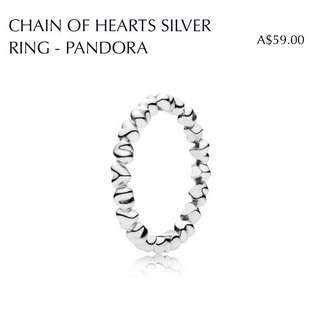 """Chain of Hearts"" Silver Ring"