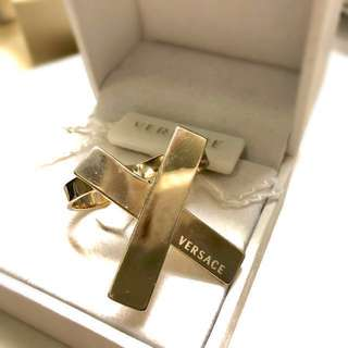 Versace Gold Plated 2-Finger Cross Ring 🤞🏻💍