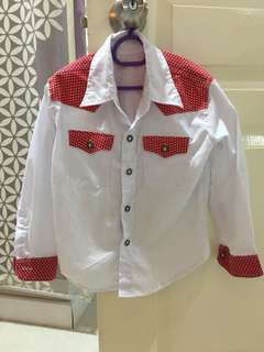 Polka dot white shirt for unisex kids