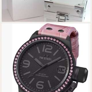 This is an authentic TW Steel Women's TW911 Canteen Swarovski Crystals Watch BLACK / PINK. BLACK PVD coated Stainless Steel case. BRAND NEW! Comes with TW Steel box and manual.