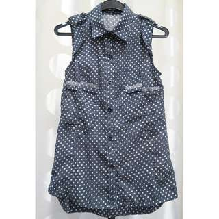 Navy Blue Polka Dots Sleeveless Blouse