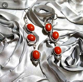 """🌻PROMO!!! Charming Red Coral Earrings 3 1/4"""" Set in 925 Silver."""