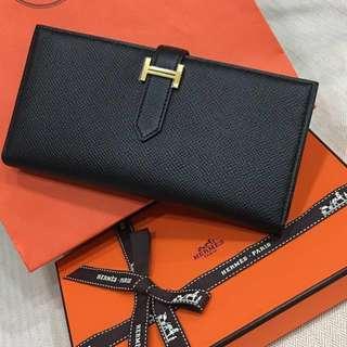Hermes Bearn A刻 金釦 經典黑 厚款 發財皮夾 epsom 專櫃全配、2017/11購證(高價精品附購證,對你我都有保障)(Hermès)
