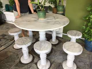 Outdoor marble table & stools