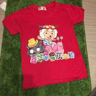 喜羊羊與灰太狼短袖T-shirt(紅色)(18-24男女童合適)
