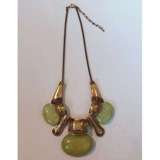 (RENT @ $38) Yellow Green Stones Gold Chunky Statement Necklace