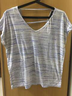 Blue and white stripes with cut-out back