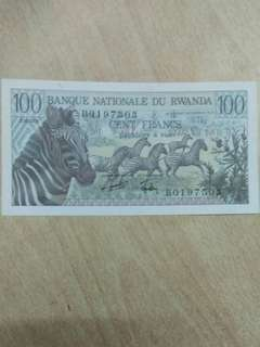 Rwanda 100 francs 1978 issue