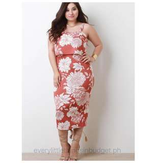 3D Floral Open Shoulder PLUS SIZE Dress - LIMITED STOCKS