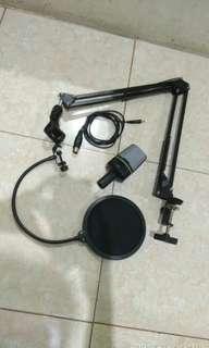 Paket Mic Condenser + stand + pop filter