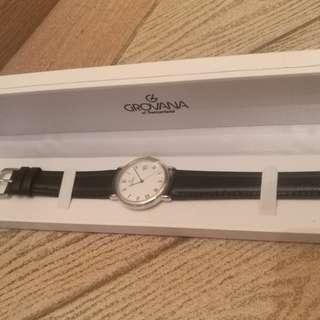 Grovana Model # 1189.1 瑞士製名錶 / 真皮錶帶 原廠盒