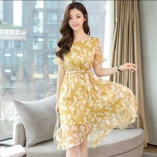 Floral Chiffon Woman Dress
